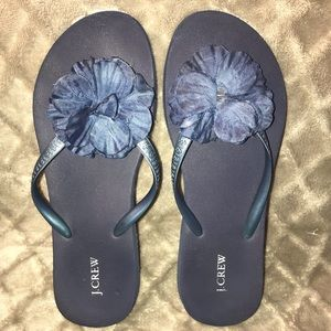 J Crew Blue Flip Flop with Flower